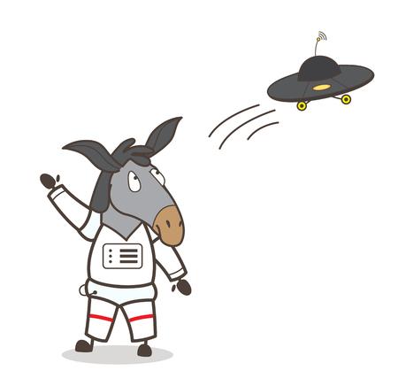 Cartoon Horse Astronaut Gesturing to UFO Vector Illustration