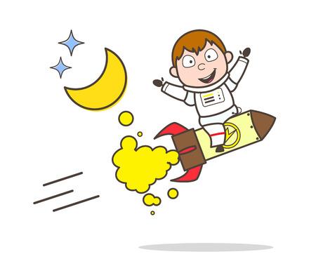 Cartoon Cosmonaut Flying on Rocket Vector Illustration