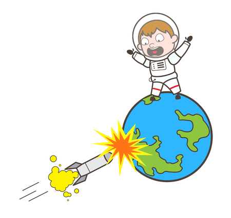 Cartoon Scared Cosmonaut Try to Escape from Rocket Vector Illustration