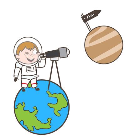 Cartoon Cosmonaut Watching Mars Planet Through Telescope Vector Illustration
