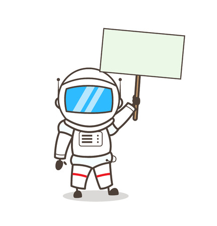 Cartoon Astronaut Showing a Blank Placard Vector Illustration