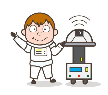 Cartoon Cosmonaut with Robotic Machine Vector Illustration Illustration