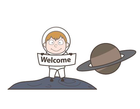 Cartoon Cosmonaut Showing Welcome Banner Vector Illustration Illustration