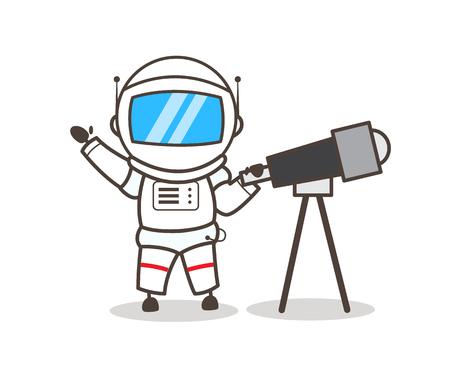 Cartoon Astronaut with Telescope Vector Illustration Illusztráció