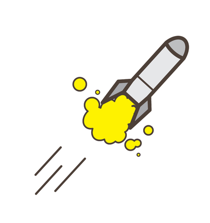 cartoon bomb: Rocket Launching Vector Illustration Illustration