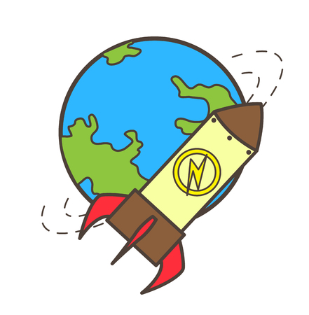 cartoon bomb: Earth and Rocket Vector Illustration