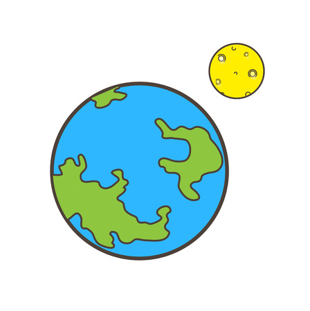 Earth and Other Planet Gap Vector Concept Ilustração