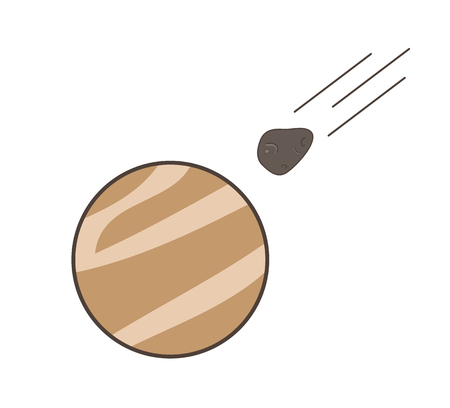 Asteroid Moving Forward to Mars Planet Vector Graphic