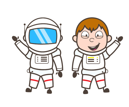funny robot: Cartoon Astronaut With and Without Helmet Vector Illustration
