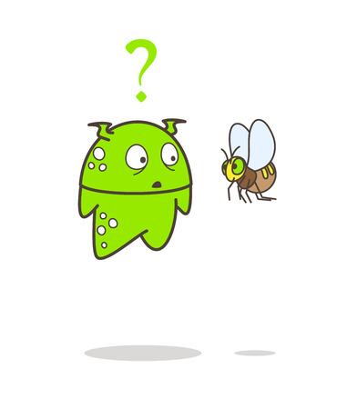 Cartoon Alien Confused Face After See Bee Vector Illustration