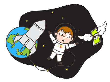 Cartoon Astronaut Trying to Catch Money in Space Vector Illustration