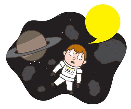 Cartoon Shocked Cosmonaut Stuck Between Asteroids Vector Illustration