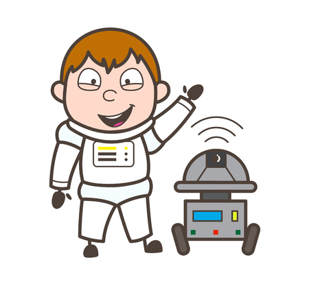 suite: Cartoon Laughing Astronaut with Robot Vector Illustration