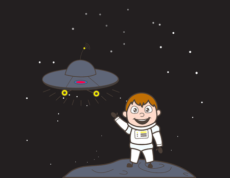 Cartoon Cosmonaut Showing UFO Ship Vector Illustration