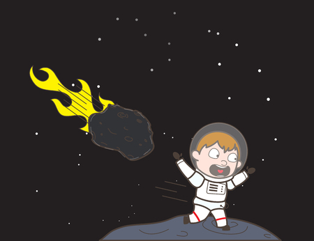 Cartoon Scared Cosmonaut Running Away from Asteroid Vector Illustration