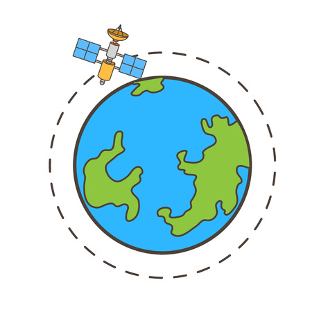 Satellite Moving Around the Earth Vector Graphic