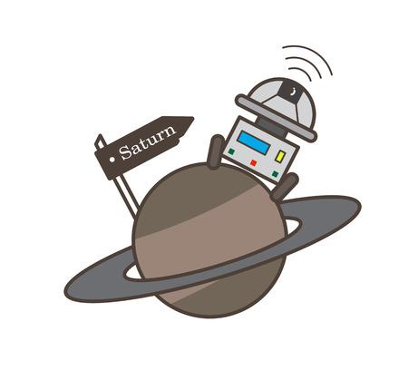 Robot on Saturn Planet Vector Illustration