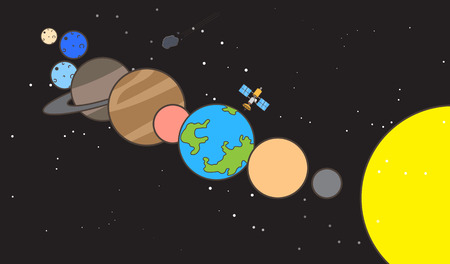 Planets in Space Vector Illustration