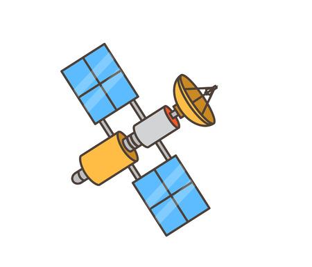 wireless communication: Space Satellite Machine Vector Illustration