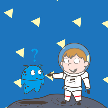 Cartoon Astronaut Showing Hand to a Alien Vector Illustration