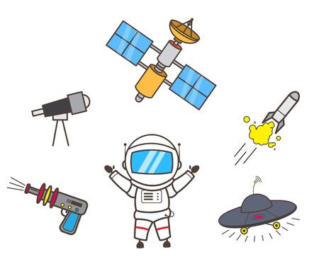 Cartoon Astronaut Presenting Space Items Vector Illustration