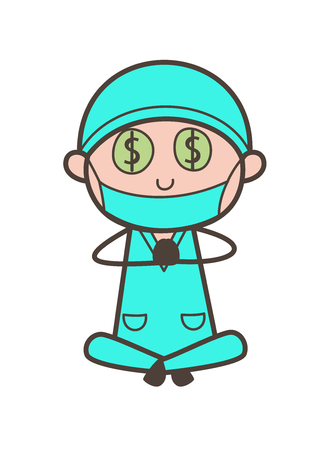 Cartoon Greedy Dentist Money-Mouth Face Vector Illustration
