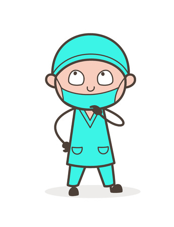Cartoon Doctor Thinking Face Vector Illustration Vectores