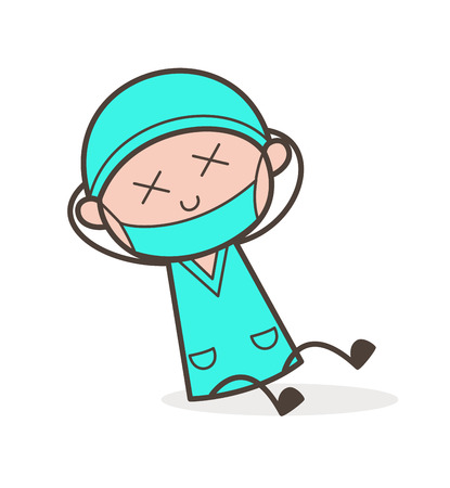 medico: Cartoon Surgeon Fall-Down and Get Injured Vector Illustration Illustration