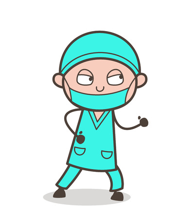 Cartoon Surgeon in Running Pose Vector Illustration