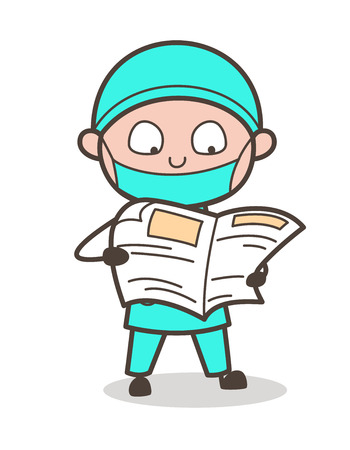 Cartoon Surgeon Reading Newspaper Vector Illustration