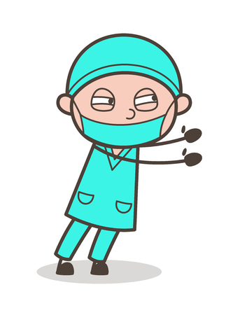 medico: Cartoon Surgeon Showing Both Hands Vector Pose Illustration