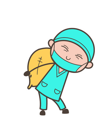 Cartoon Surgeon Carrying a Pack of Sack Vector Illustration Illustration