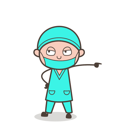 medico: Cartoon Physician Doctor in Aggressive Mood Vector Illustration Illustration