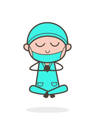 Cartoon Surgeon Doing Yoga Vector Illustration Illustration