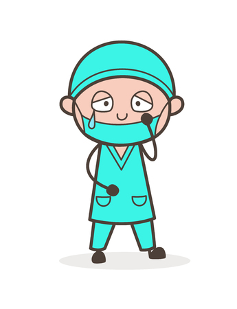Cartoon Emotional Physiatrist Doctor Sad Face Vector