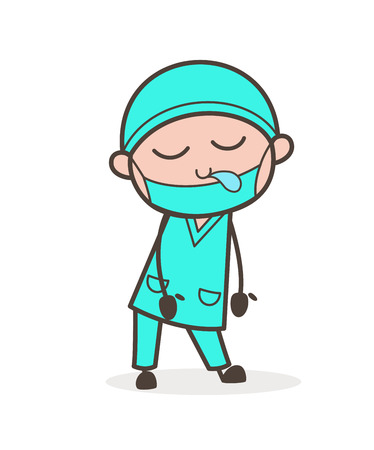 Cartoon Surgeon Doctor Sleepy Face Vector Illustration