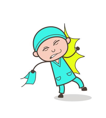 Cartoon Surgeon Got Hurt Vector Concept