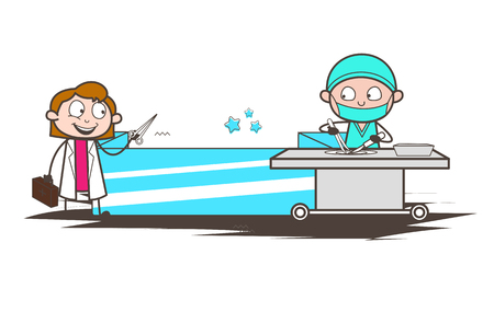 Cartoon Surgeon Running in Hurry to Deliver Letter Vector Illustration Illustration