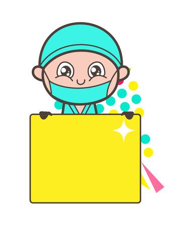 Naughty Surgeon Winking-Eye Face Vector Illustration Ilustração