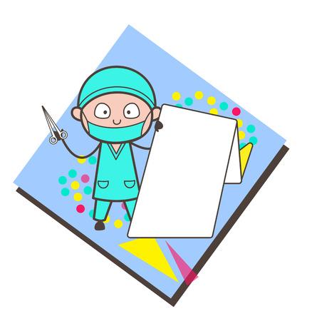 Shocking Face of Cartoon Doctor Vector Illustration Illustration