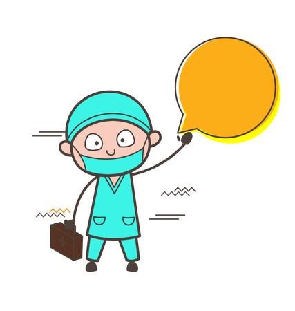Cartoon Surgeon Doctor Sleepy Face Vector Illustration