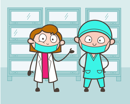 Cartoon Male and Female Surgeon Introducing Each Other Vector Illustration