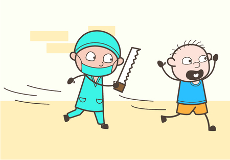 Cartoon Surgeon with Saw Running Behind a Patient - Funny Medical Concept