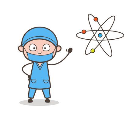 Cartoon Surgeon Presenting DNA Information in Meeting