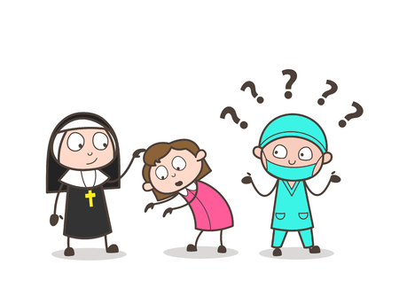 Cartoon Confused Surgeon Expression after See Traditional Culture Vector Concept