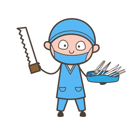 venganza: Cirujano de dibujos animados con cortador de sierra y equipos médicos Vector Vectores