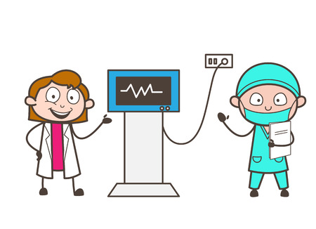 medico: Cartoon Female Doctor and Cardiologist Showing Patient Heartbeat Vector Concept