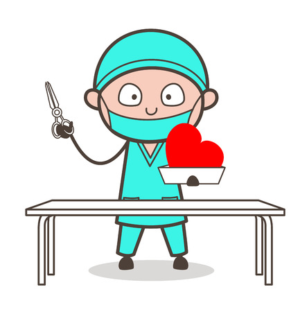 medico: Cartoon Cardiologist Ready for Heart Surgery Vector Illustration