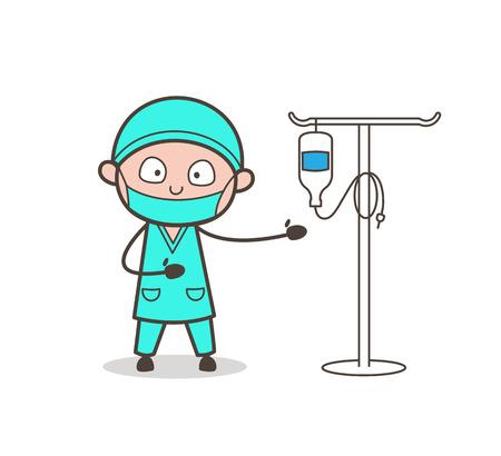 정맥 치료 시스템 벡터를 제시 만화 닥터