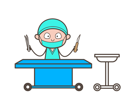 Cartoon Surgeon with Medical Equipments in Operation Theater Vector